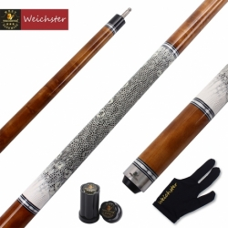 "Weichster 58"" 1/2 Billiard Pool Cue Stick Birdeye Maple Wood with Snake Skin Wrap 19oz to 21oz 13mm Tip"